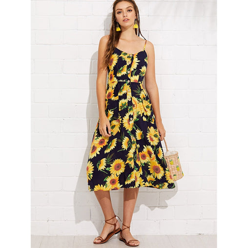 Multicolor Sunflower Print Pocket Side Button Up Cami Dress