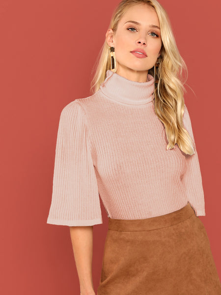 Pink Turtle Neck Bell Sleeve Rib T-Shirt