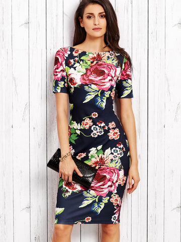 Casual Dresses - Women's Trendy Multicolor Rose Print Slit Back Pencil Dress