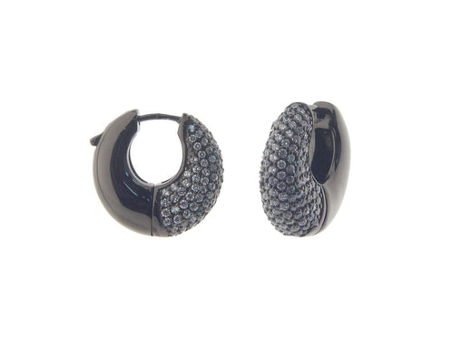 Black Silver Hoop Earring