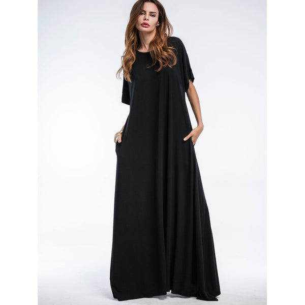 Casual Dresses - Women's Trendy Black Round Neck Half Sleeve Shift Dress