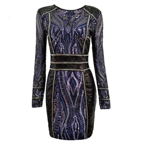 Sequin Embellished Cocktail Party Dress