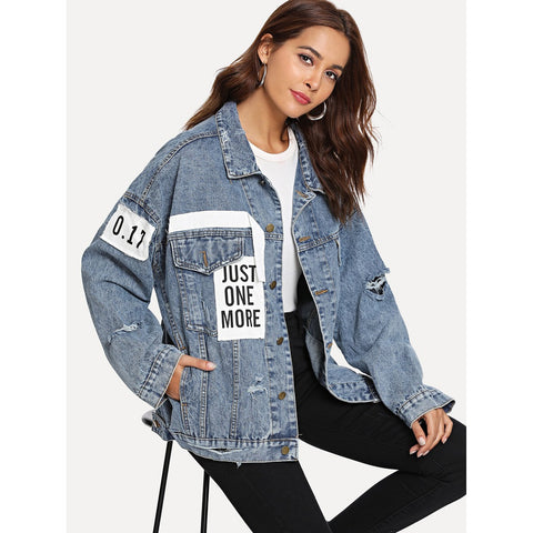 Blue Patched Ripped Denim Jacket
