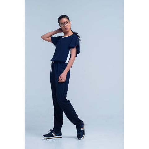 Jumpsuits - Women's Trendy Blue Round Neck Short Sleeve Jumpsuit