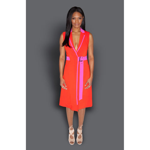 Day Dresses - Women's Trendy Orange V-Neck Sleeveless A Line Dress