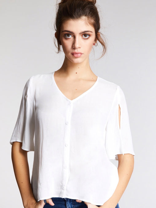 White Split Sleeve Button Up Blouse