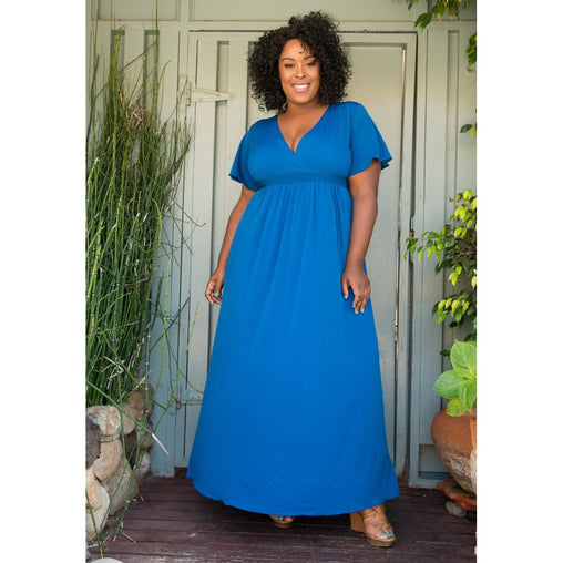 Plus Size Royal Blue V-Neck Long Maxi Dress