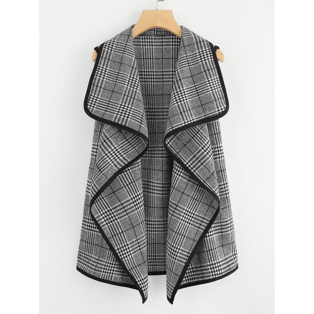 Contrast Binding Wales Check Waterfall Coat - Fashiontage