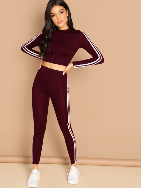 Burgundy Striped Tape Top & Legging Set