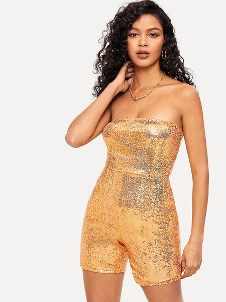 Gold Sequin Zip Back Tube Romper