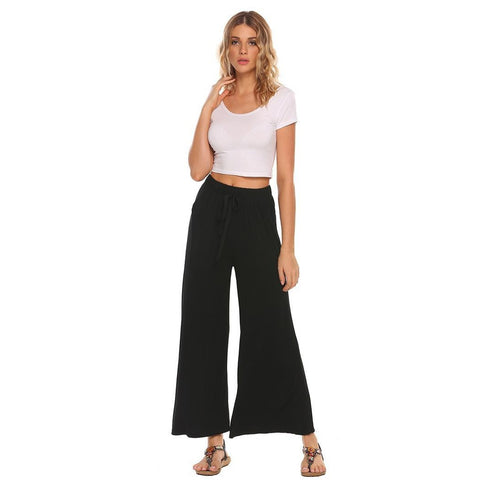 Cropped Pants - Women's Trendy Black Mid Waist Loose Fit Wide Leg Pant