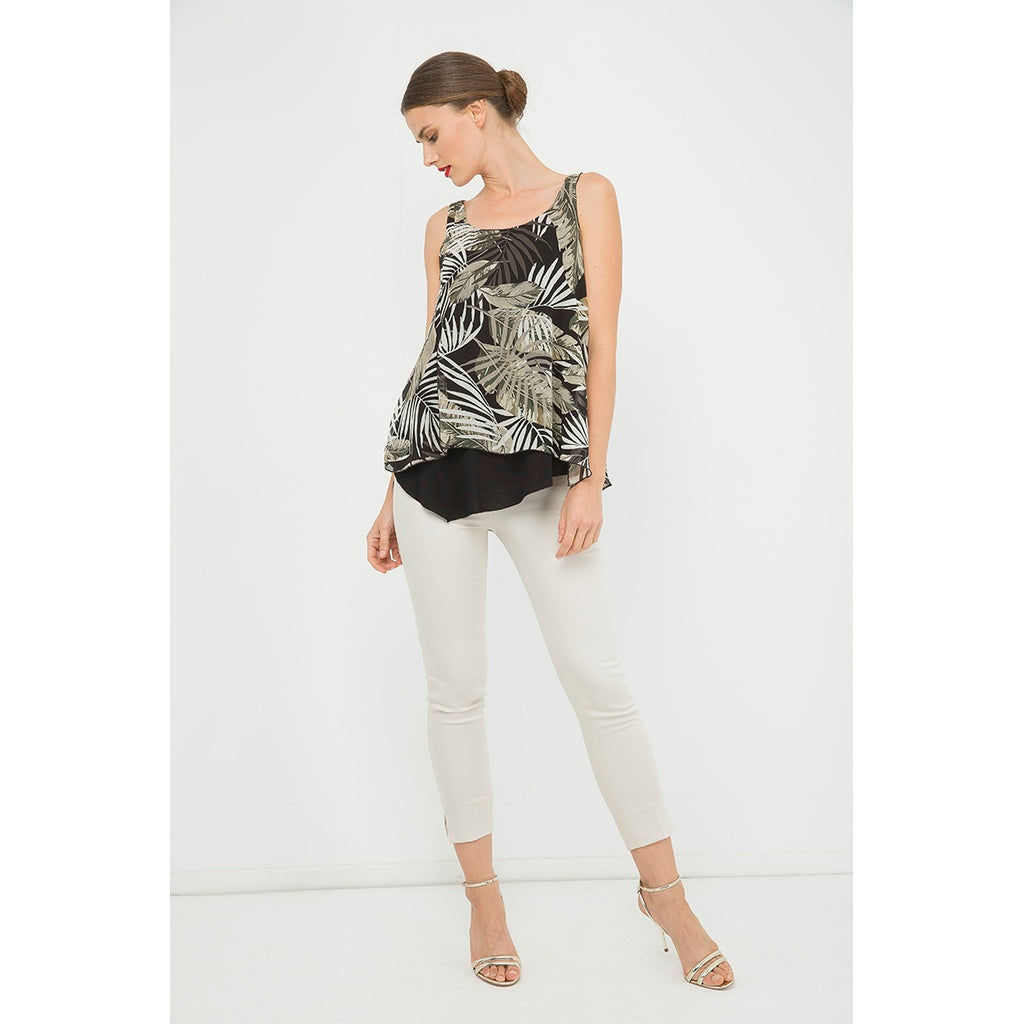 Black Round Neck Sleeveless A Line Top - Fashiontage