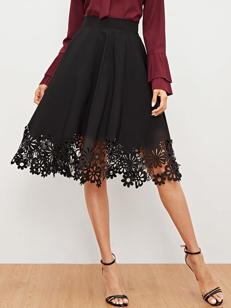 Black Solid Laser Cut Midi Skirt