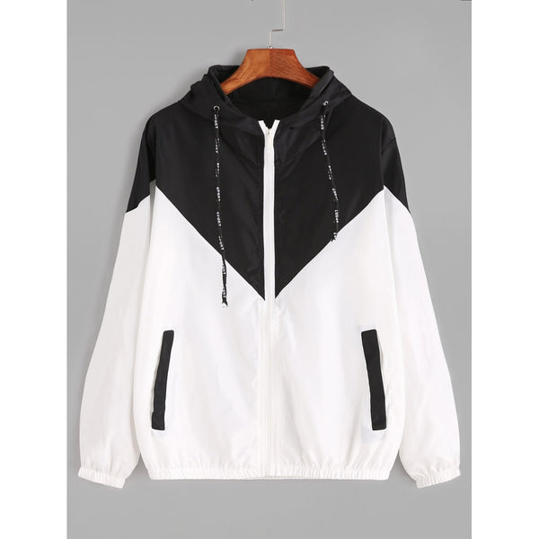Jackets - Women's Trendy Black And White Hooded Sporty Jacket