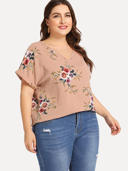 Plus Size Pink Cuffed Sleeve Floral Top