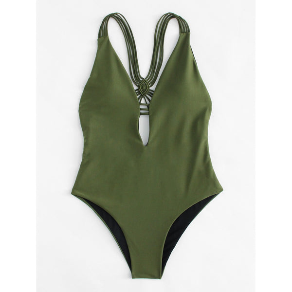 Swimsuits - Women's Trendy Army Green Plain Backless Swimsuit