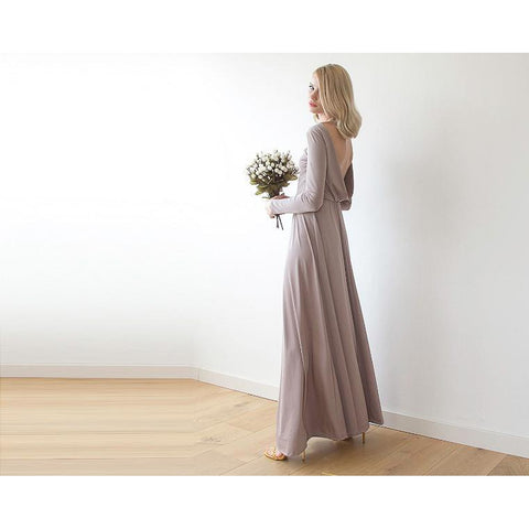 Taupe Boat Neck Long Sleeve Maxi Dress