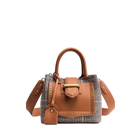 Studded Decor Houndstooth Shoulder Bag - Fashiontage