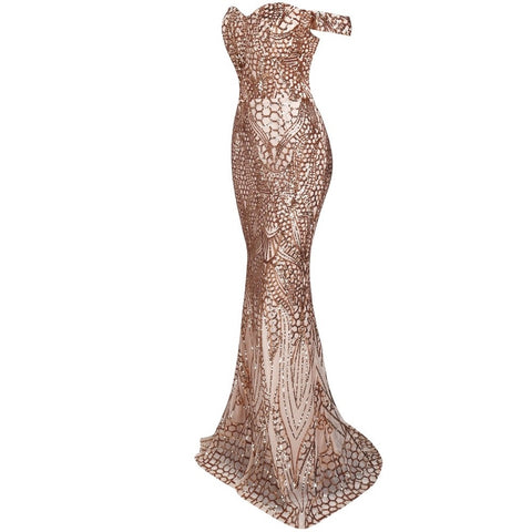 Off Shoulder Gold Sequin Evening Dress