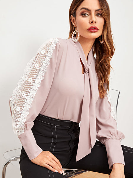 Pink Contrast Lace Sleeve Blouse