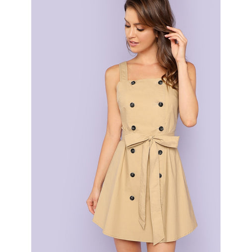Khaki Double Breasted Wrap Dress