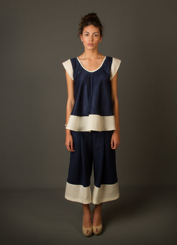 Shirts - Women's Trendy Navy Blue Sleeveless Silk Top