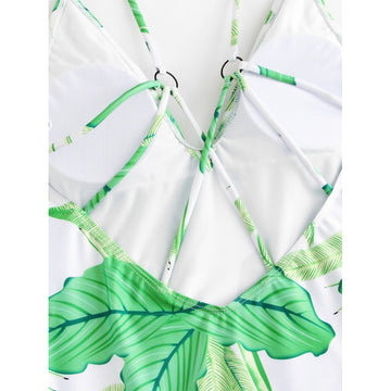 Leaf Print Caged Swimsuit - Fashiontage