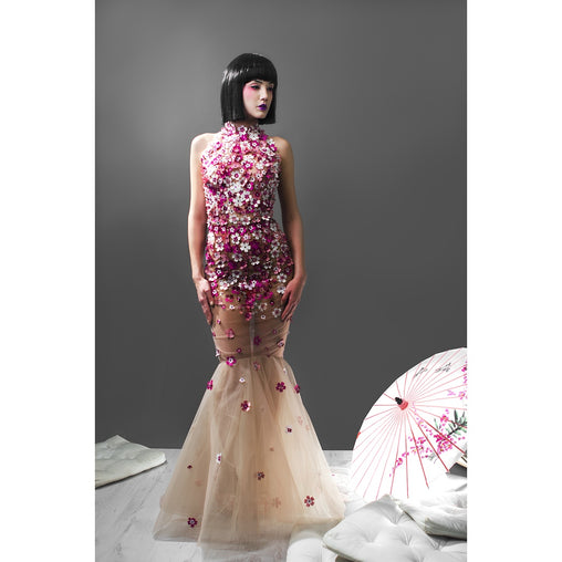 Seethrow  Flower Print Tulle Dress- Evening Gown