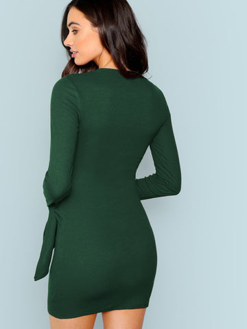 Formal Dresses - Women's Trendy Knotted Wrap Front Fitted Dress
