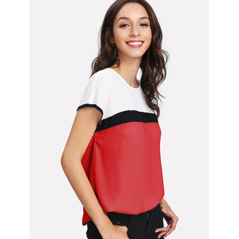 Blouses - Women's Trendy Multicolor Round Neck Cap Sleeve Tunic Top