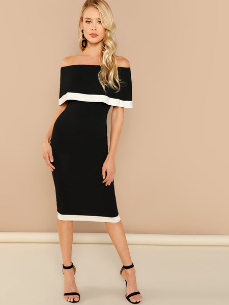 Black And White Off Shoulder  Dress