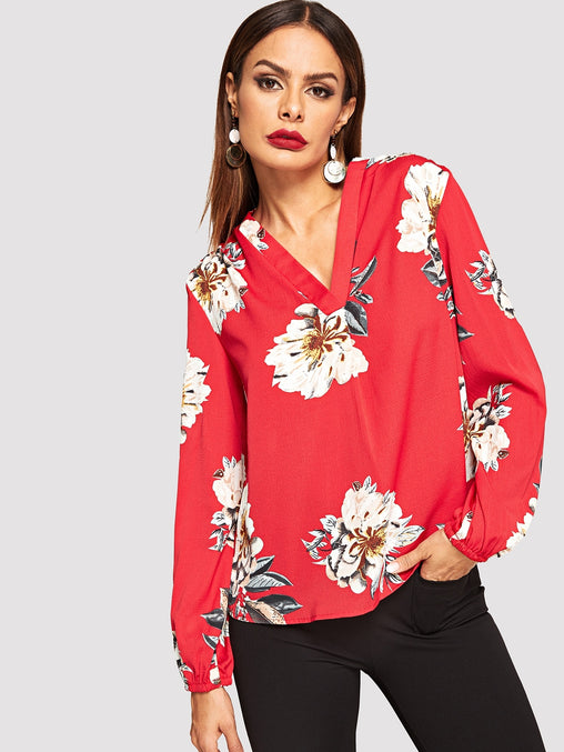 Red V Neck Floral Print Top