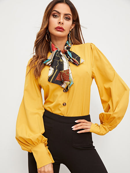 Yellow Bishop Sleeve Blouse