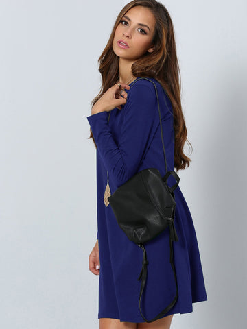 Blue Solid Tunic Dress