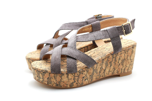 Suede Strap Wedge Sandals (Grey)