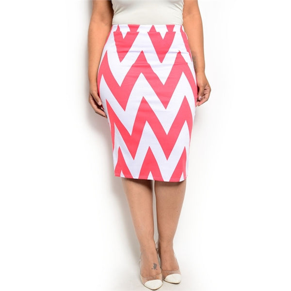 Pencil Skirts - Women's Trendy Chevron Print Knit Pencil Skirt
