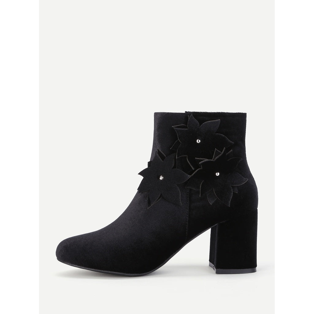 Flower Side Block Heeled Ankle Boots - Fashiontage