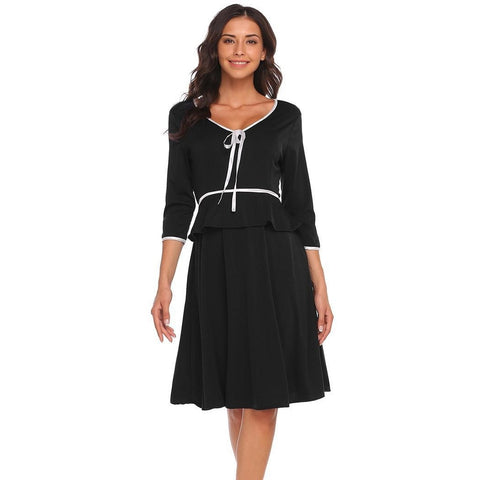 Cocktail & Party Dresses - Women's Trendy Black V-Neck Knee Length Party Dress