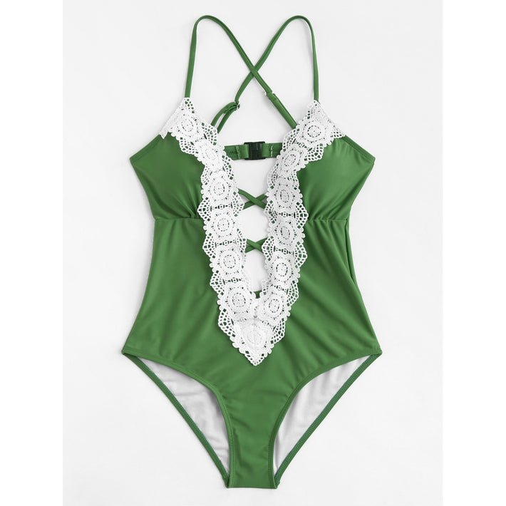 Lace Trim Criss Cross Swimsuit - Fashiontage