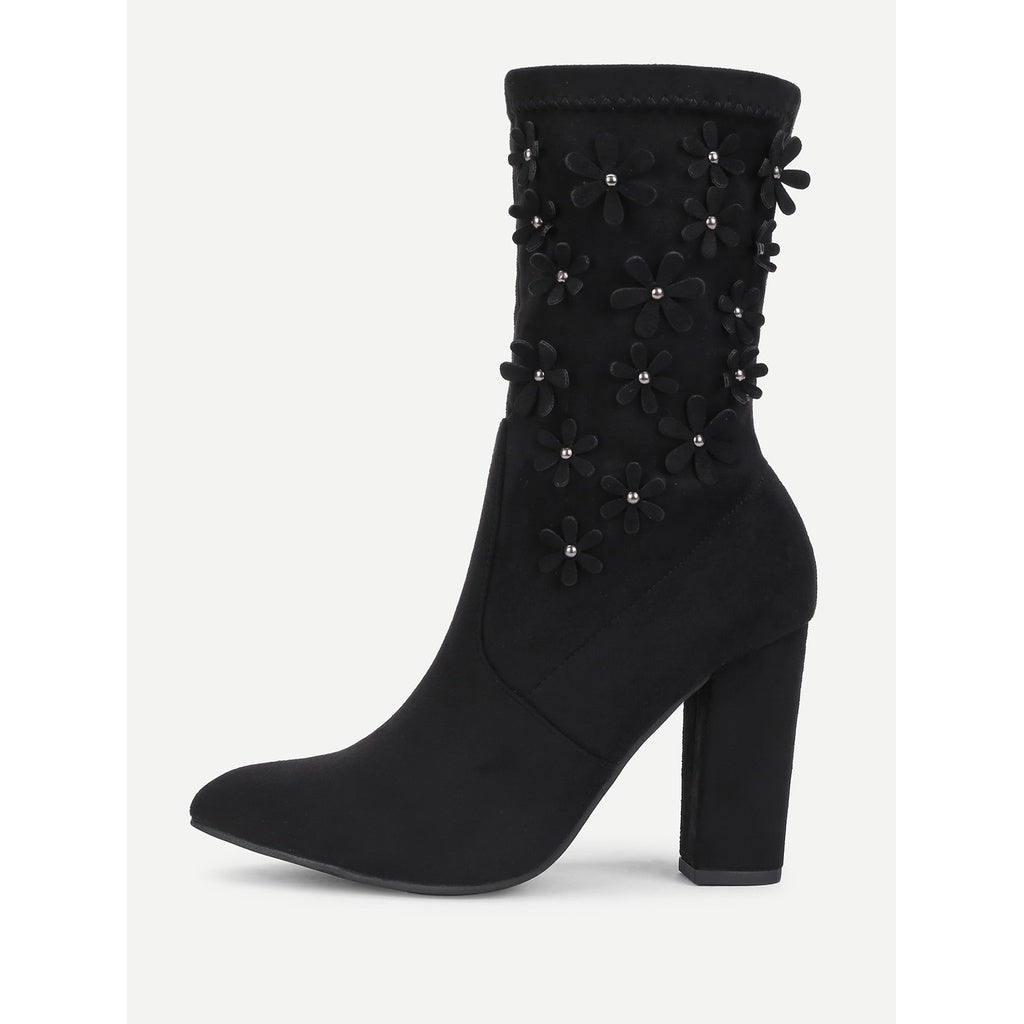 Flower Decorated Block Heeled Suede Boots - Fashiontage
