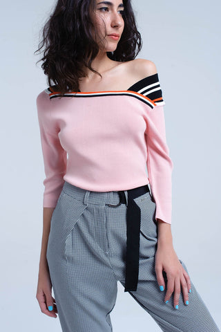 Pink Boat Neck Sleeves Sweater