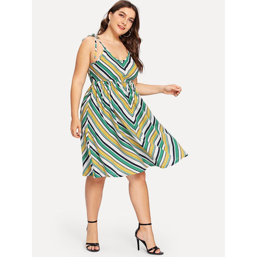 Plus Size Multicolor Fit And Flare Striped Knee Length Dress