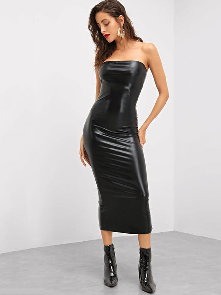 Black Form Fitting Solid Bandeau Dress