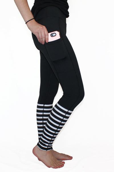 Black With Stripes Pocket Activewear Bottom