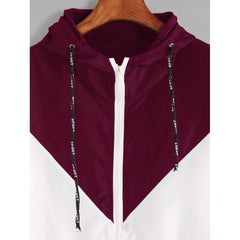 Color Block Drawstring Hooded Zip Up Jacket - Fashiontage