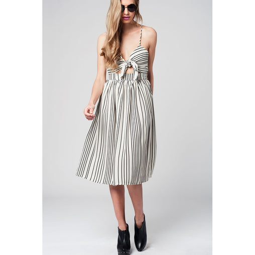 Beige Midi Striped Dress