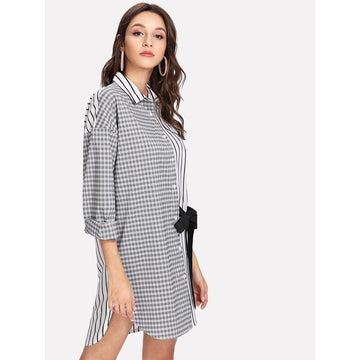 Black and White Collar Long Sleeve Striped Asymmetrical Dress