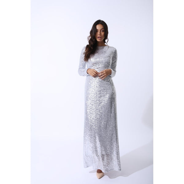 Day Dresses - Women's Trendy Silver Boat Neck Long Sleeve Maxi Dress