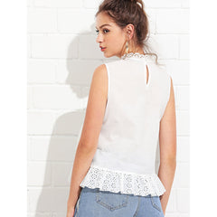 Beige Ruffle Detail Eyelet Embroidered Top