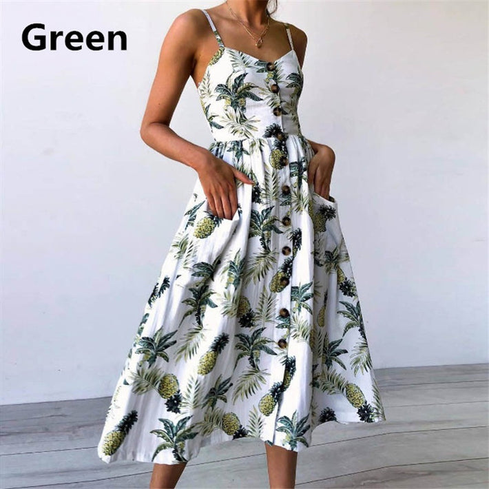 2018 Women's Summer Floral Bohemian Spaghetti Strap Button Down Swing Midi Dress With Pockets - Fashiontage